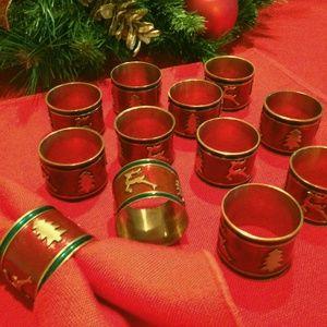 VTG Christmas tree & reindeer napkin rings